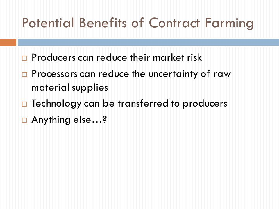 Potential Benefits of Contract Farming