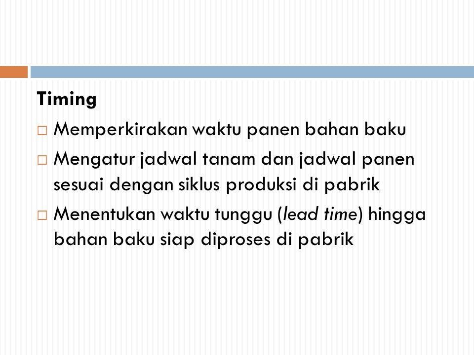 Timing Memperkirakan waktu panen bahan baku. Mengatur jadwal tanam dan jadwal panen sesuai dengan siklus produksi di pabrik.