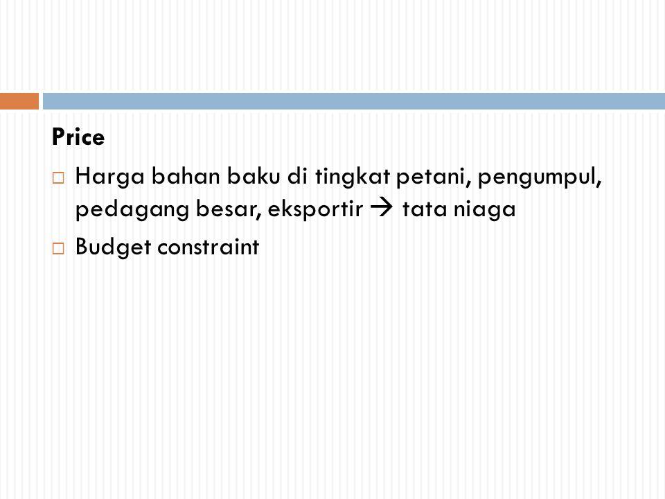 Price Harga bahan baku di tingkat petani, pengumpul, pedagang besar, eksportir  tata niaga.
