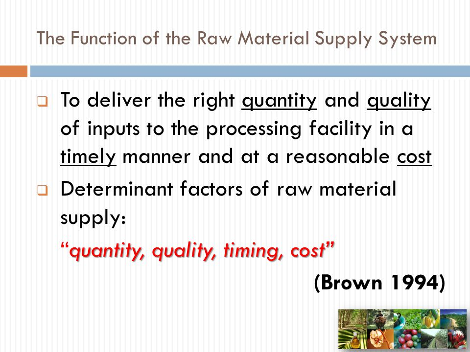 The Function of the Raw Material Supply System
