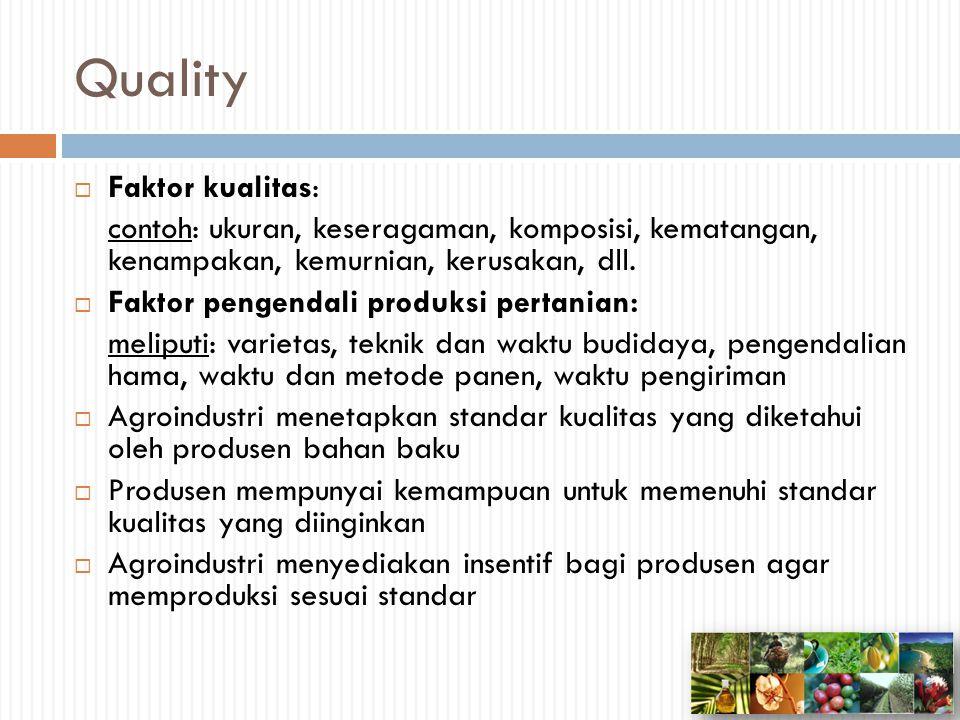 Quality Faktor kualitas: