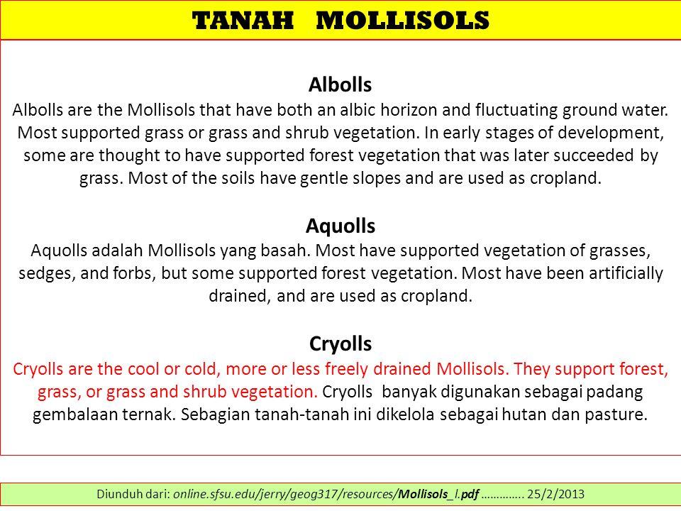 TANAH MOLLISOLS Albolls Aquolls Cryolls