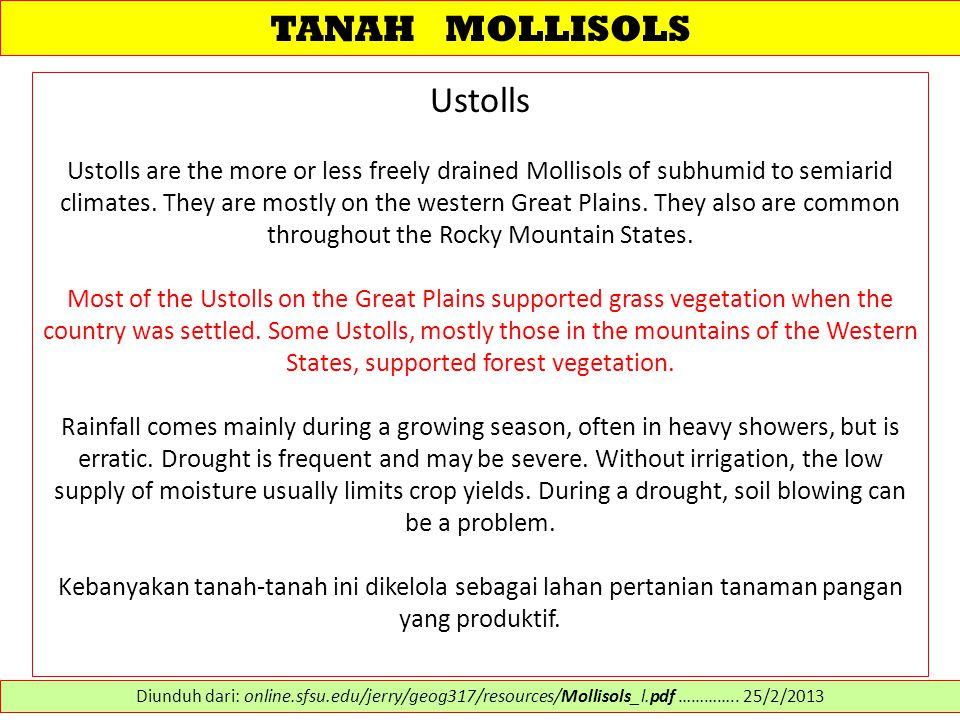 TANAH MOLLISOLS Ustolls