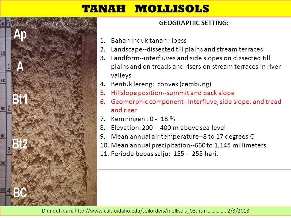 TANAH MOLLISOLS GEOGRAPHIC SETTING: Bahan induk tanah: loess