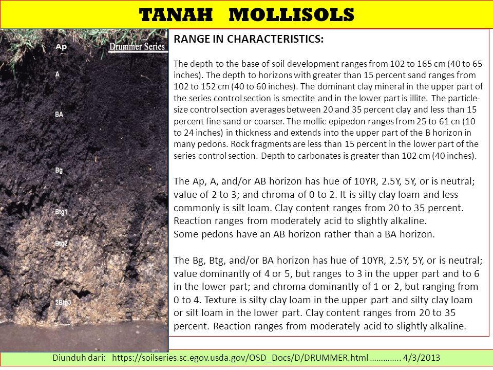 TANAH MOLLISOLS RANGE IN CHARACTERISTICS:
