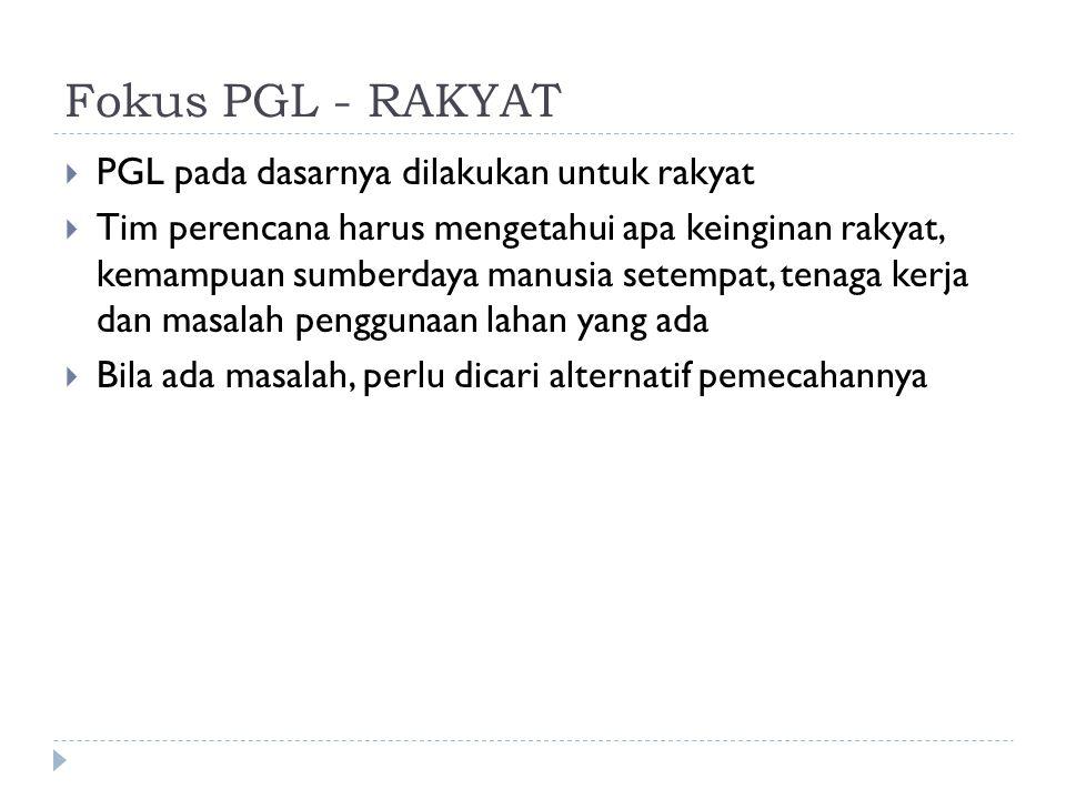 Fokus PGL - RAKYAT PGL pada dasarnya dilakukan untuk rakyat