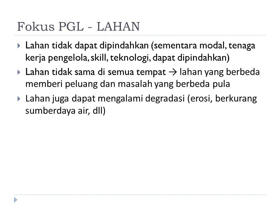 Fokus PGL - LAHAN Lahan tidak dapat dipindahkan (sementara modal, tenaga kerja pengelola, skill, teknologi, dapat dipindahkan)