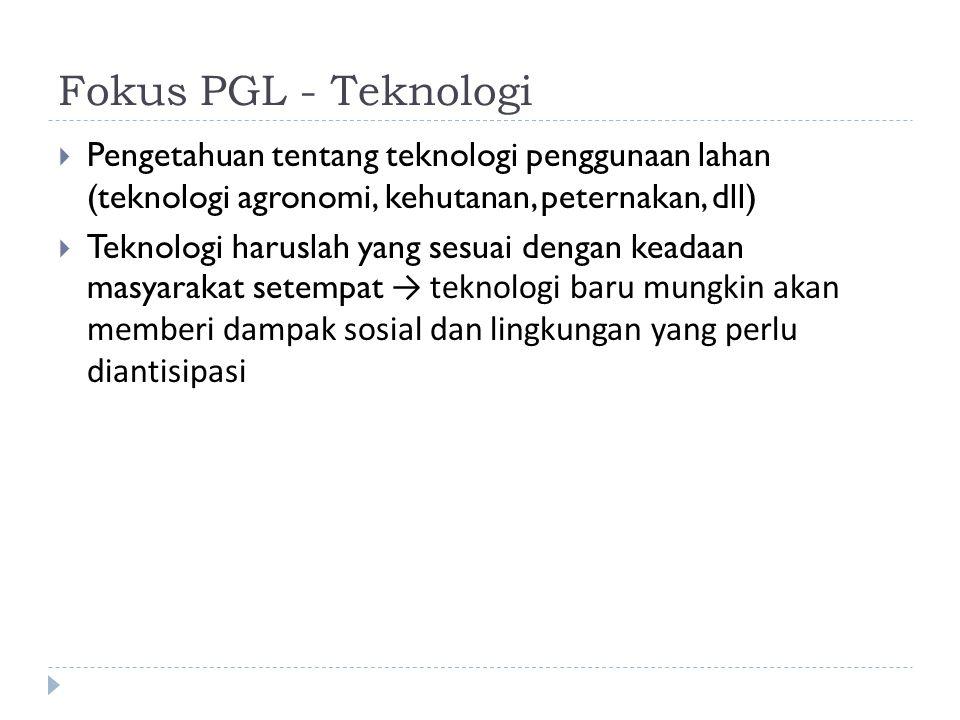 Fokus PGL - Teknologi Pengetahuan tentang teknologi penggunaan lahan (teknologi agronomi, kehutanan, peternakan, dll)