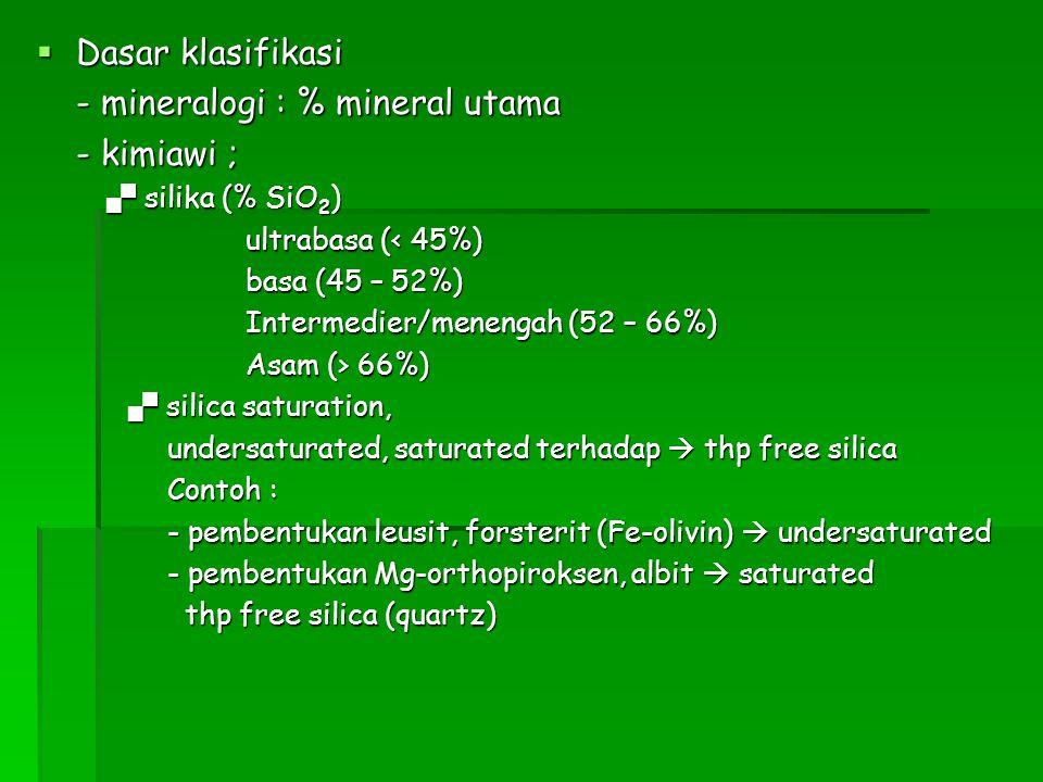 - mineralogi : % mineral utama - kimiawi ;