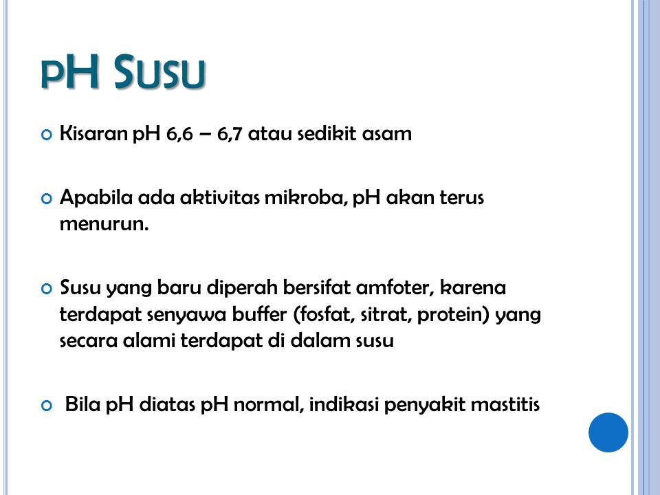 pH Susu Kisaran pH 6,6 – 6,7 atau sedikit asam