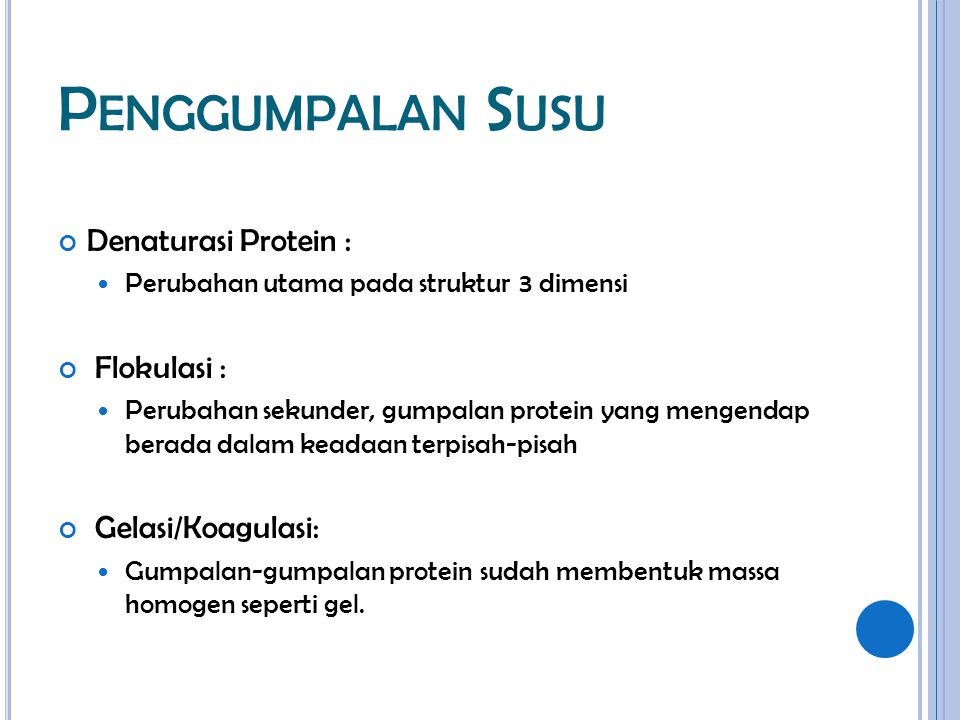 Penggumpalan Susu Denaturasi Protein : Flokulasi : Gelasi/Koagulasi: