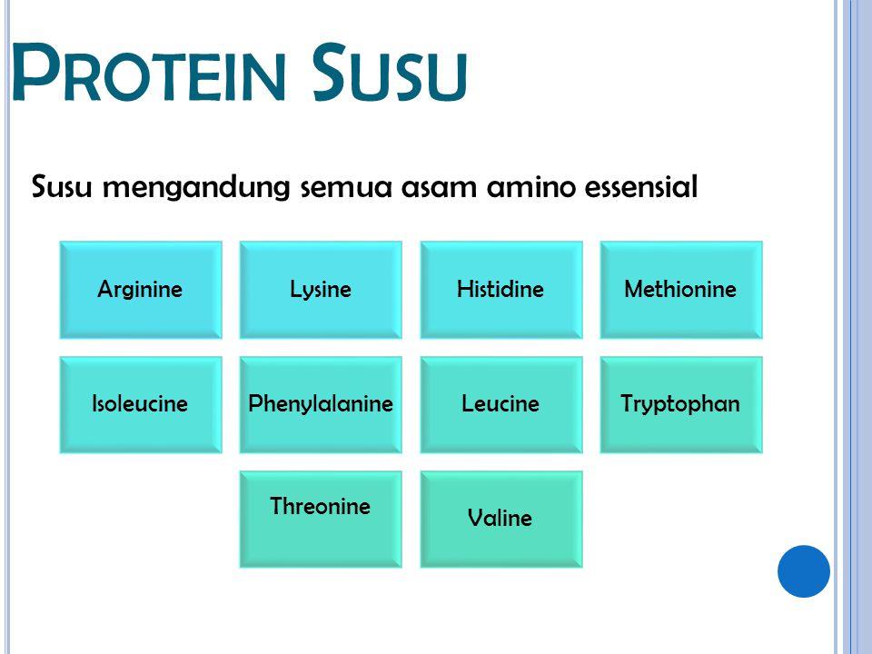 Protein Susu Susu mengandung semua asam amino essensial Arginine