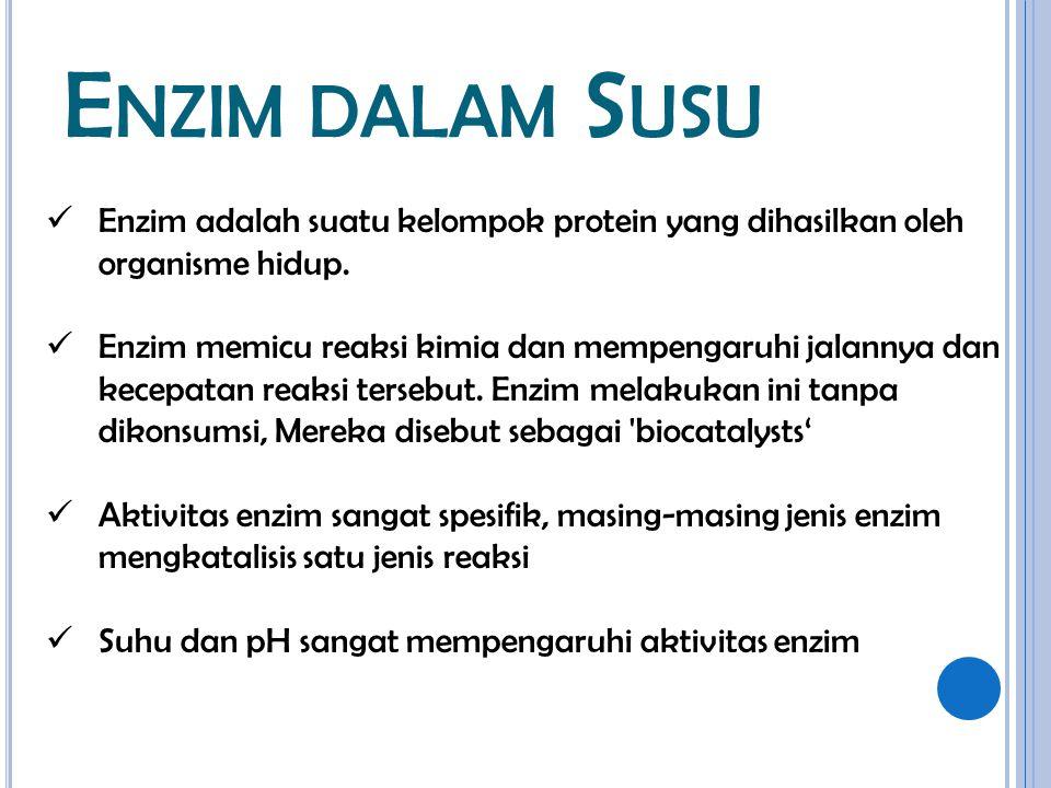 Enzim dalam Susu Enzim adalah suatu kelompok protein yang dihasilkan oleh organisme hidup.