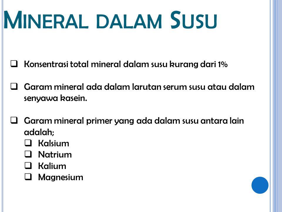 Mineral dalam Susu Konsentrasi total mineral dalam susu kurang dari 1%