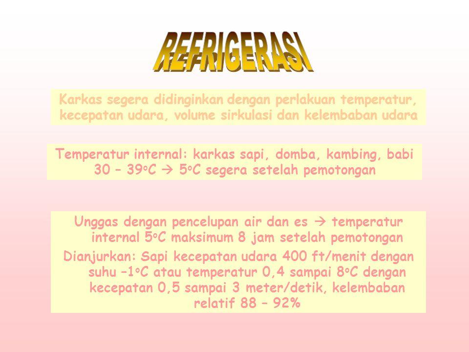 REFRIGERASI Karkas segera didinginkan dengan perlakuan temperatur, kecepatan udara, volume sirkulasi dan kelembaban udara.