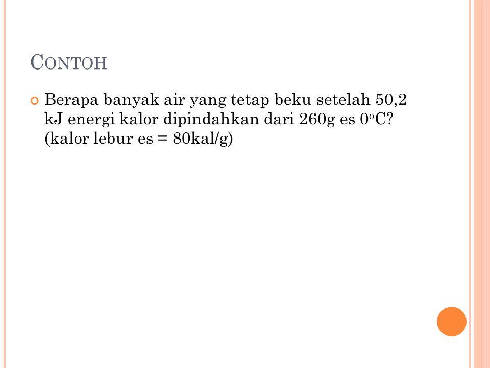 Contoh Berapa banyak air yang tetap beku setelah 50,2 kJ energi kalor dipindahkan dari 260g es 0oC.