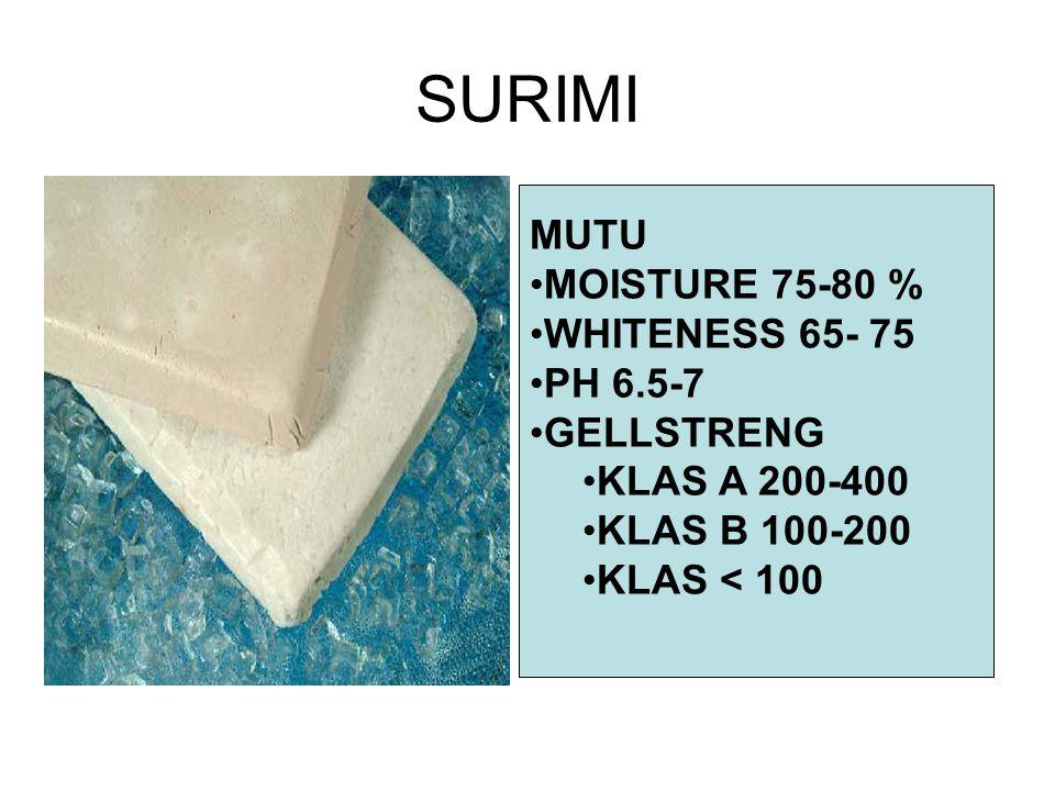 SURIMI MUTU MOISTURE 75-80 % WHITENESS 65- 75 PH 6.5-7 GELLSTRENG
