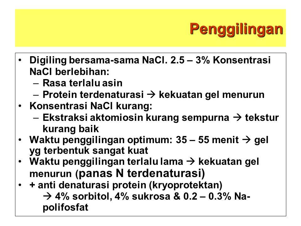 Penggilingan Digiling bersama-sama NaCl. 2.5 – 3% Konsentrasi NaCl berlebihan: Rasa terlalu asin. Protein terdenaturasi  kekuatan gel menurun.