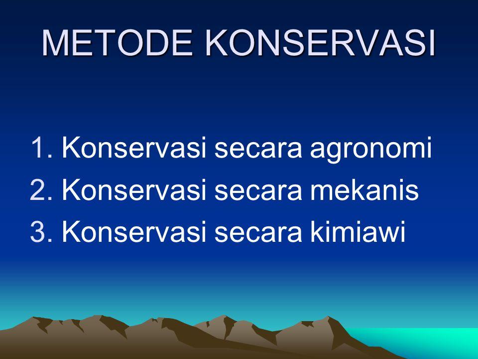 METODE KONSERVASI Konservasi secara agronomi Konservasi secara mekanis