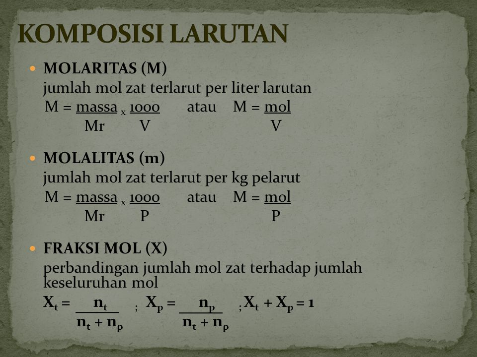 KOMPOSISI LARUTAN MOLARITAS (M)