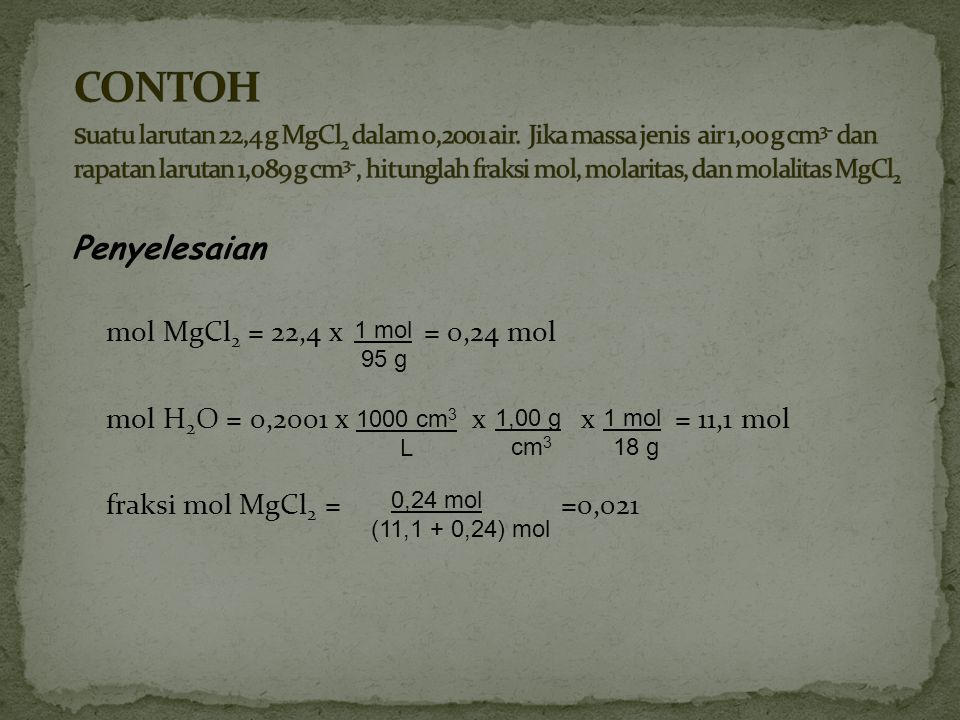 CONTOH suatu larutan 22,4 g MgCl2 dalam 0,2001 air