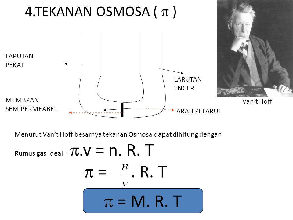  = . R. T  = M. R. T 4.TEKANAN OSMOSA (  ) LARUTAN PEKAT LARUTAN