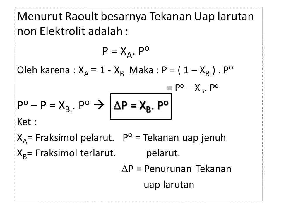 Menurut Raoult besarnya Tekanan Uap larutan non Elektrolit adalah :