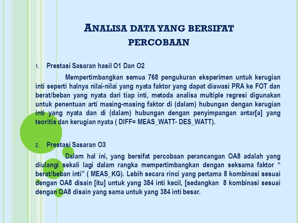 Analisa data yang bersifat percobaan
