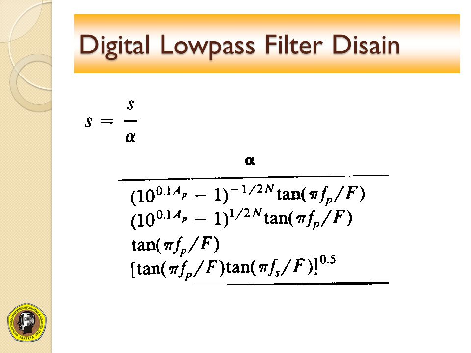 Digital Lowpass Filter Disain
