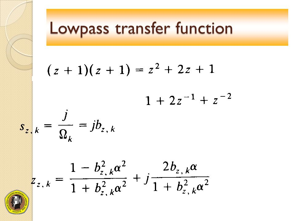 Lowpass transfer function