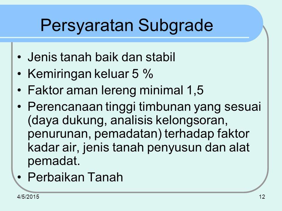Persyaratan Subgrade Jenis tanah baik dan stabil Kemiringan keluar 5 %