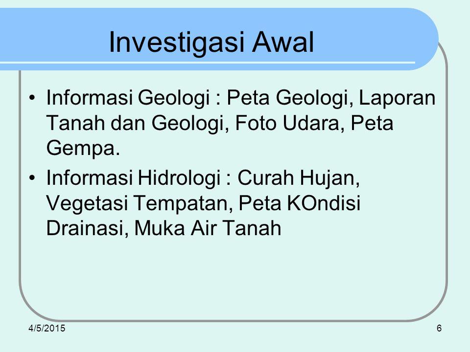 Investigasi Awal Informasi Geologi : Peta Geologi, Laporan Tanah dan Geologi, Foto Udara, Peta Gempa.