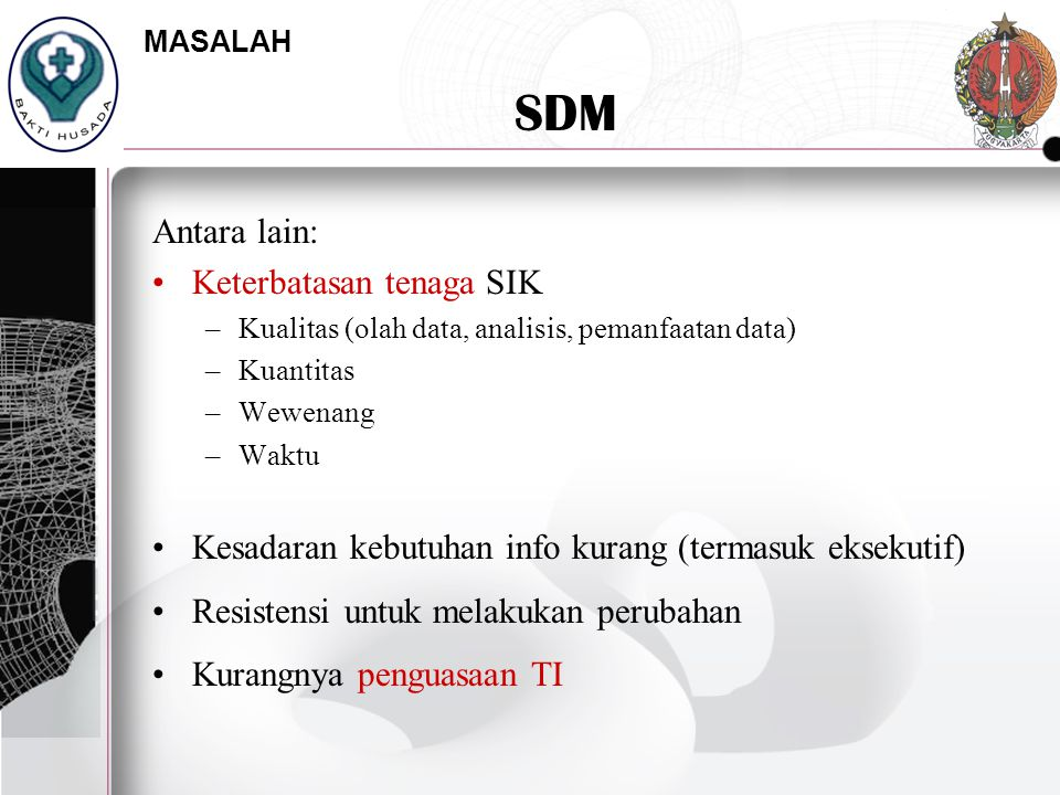 SDM Antara lain: Keterbatasan tenaga SIK