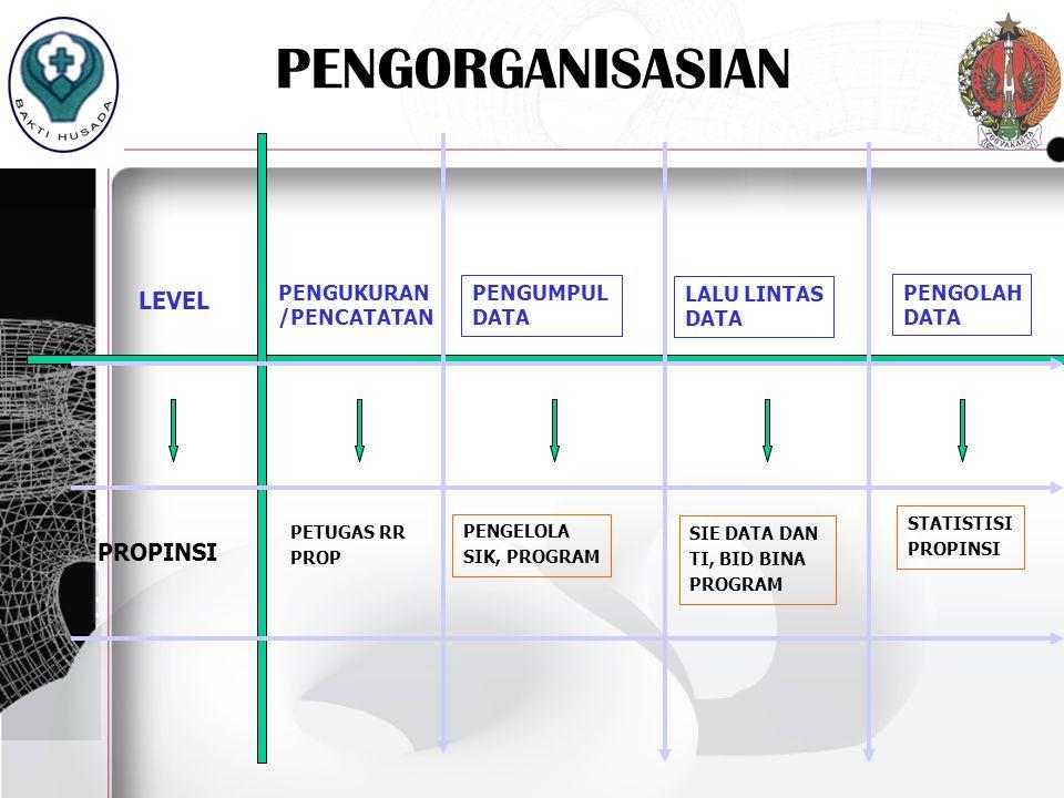 PENGORGANISASIAN LEVEL PROPINSI PENGOLAH DATA PENGUKURAN /PENCATATAN