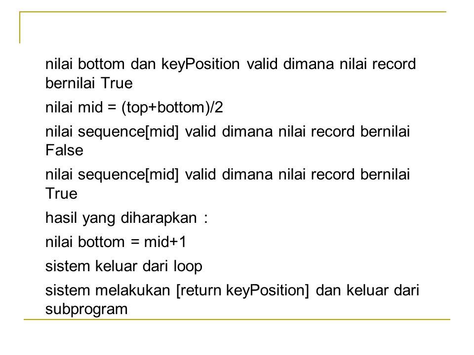 nilai bottom dan keyPosition valid dimana nilai record bernilai True