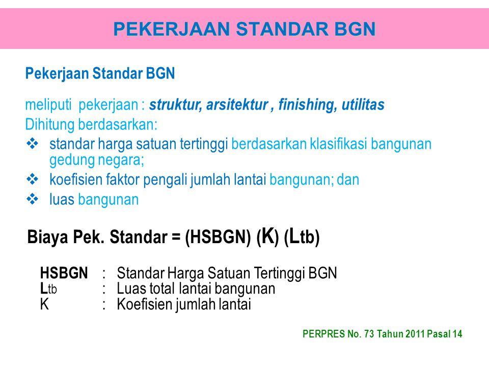 Biaya Pek. Standar = (HSBGN) (K) (Ltb)