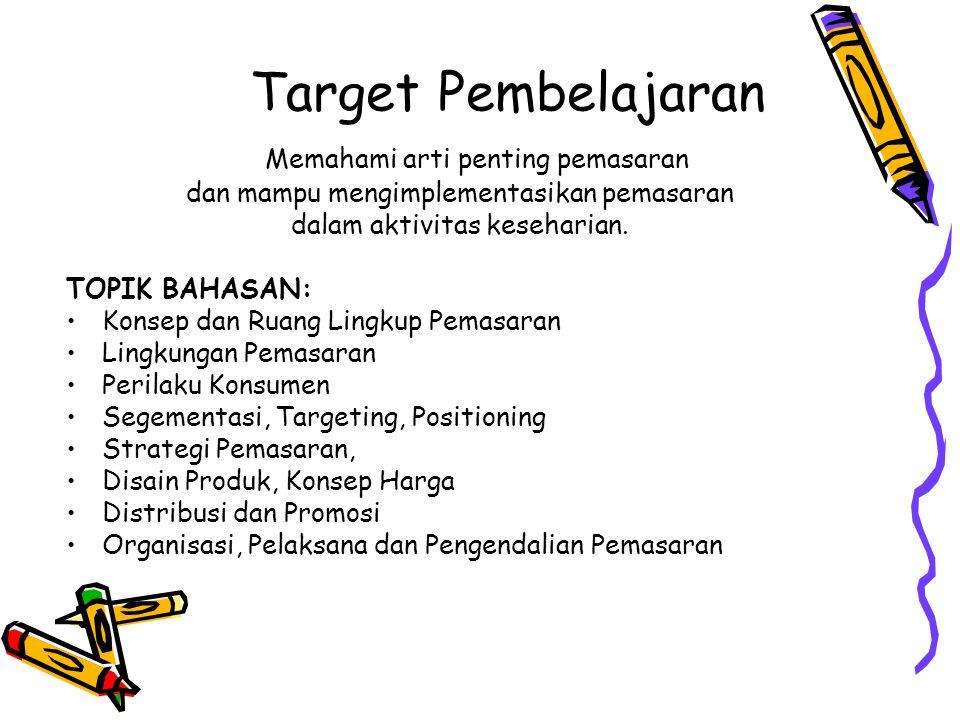 Target Pembelajaran Memahami arti penting pemasaran