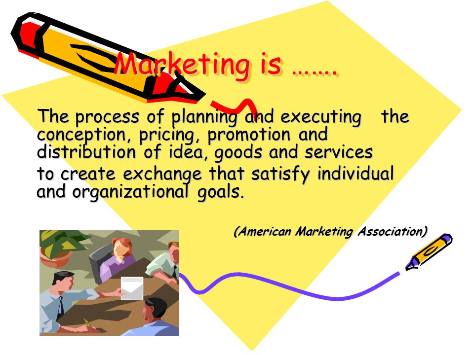 Marketing is ……. The process of planning and executing the conception, pricing, promotion and distribution of idea, goods and services.