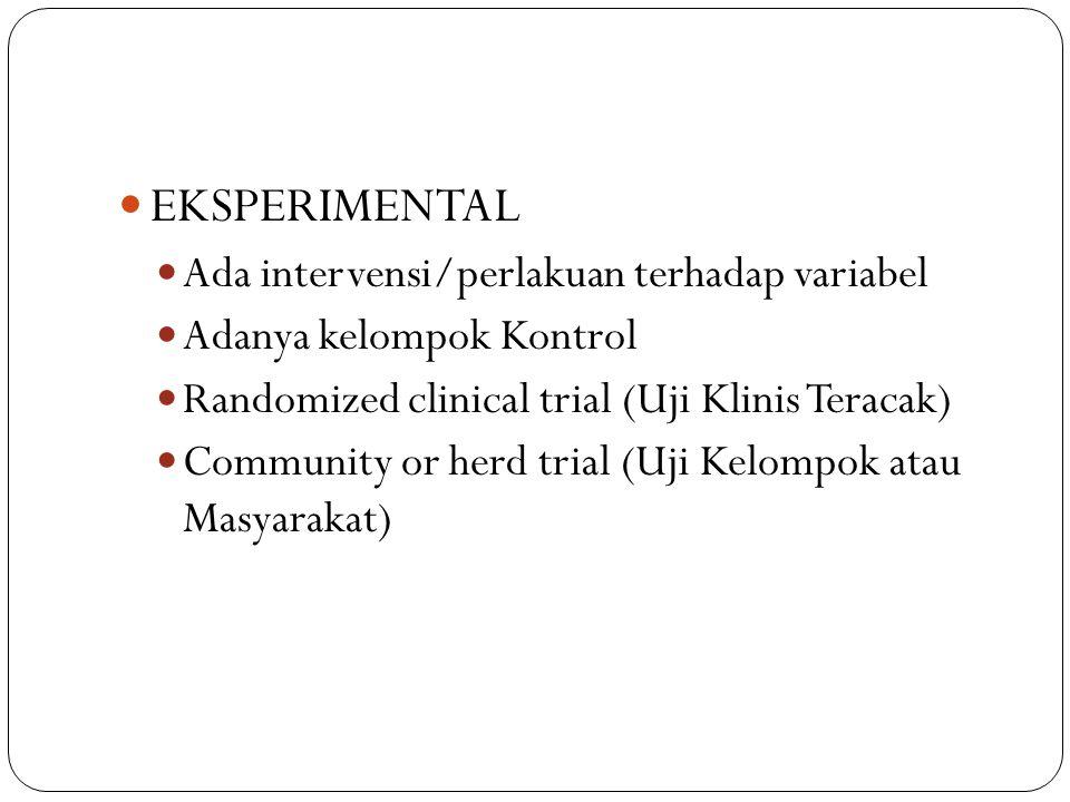 EKSPERIMENTAL Ada intervensi/perlakuan terhadap variabel