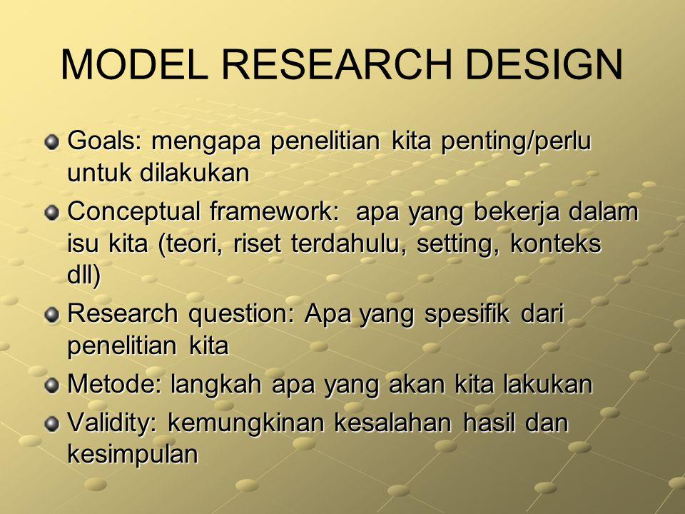 MODEL RESEARCH DESIGN Goals: mengapa penelitian kita penting/perlu untuk dilakukan.