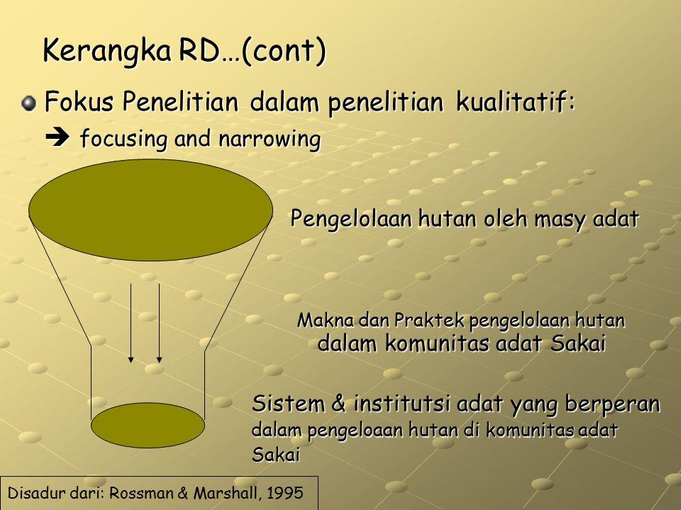 Kerangka RD…(cont) Fokus Penelitian dalam penelitian kualitatif: