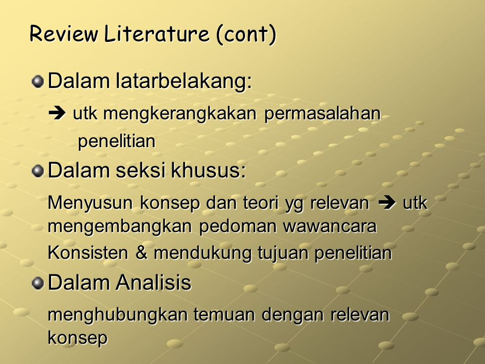 Review Literature (cont)