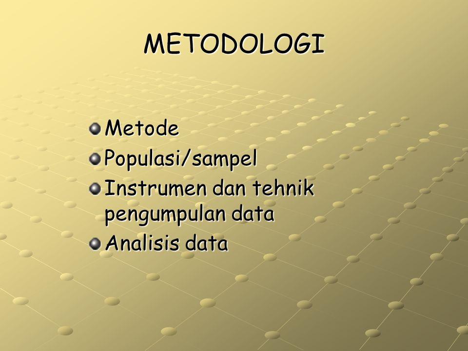 METODOLOGI Metode Populasi/sampel