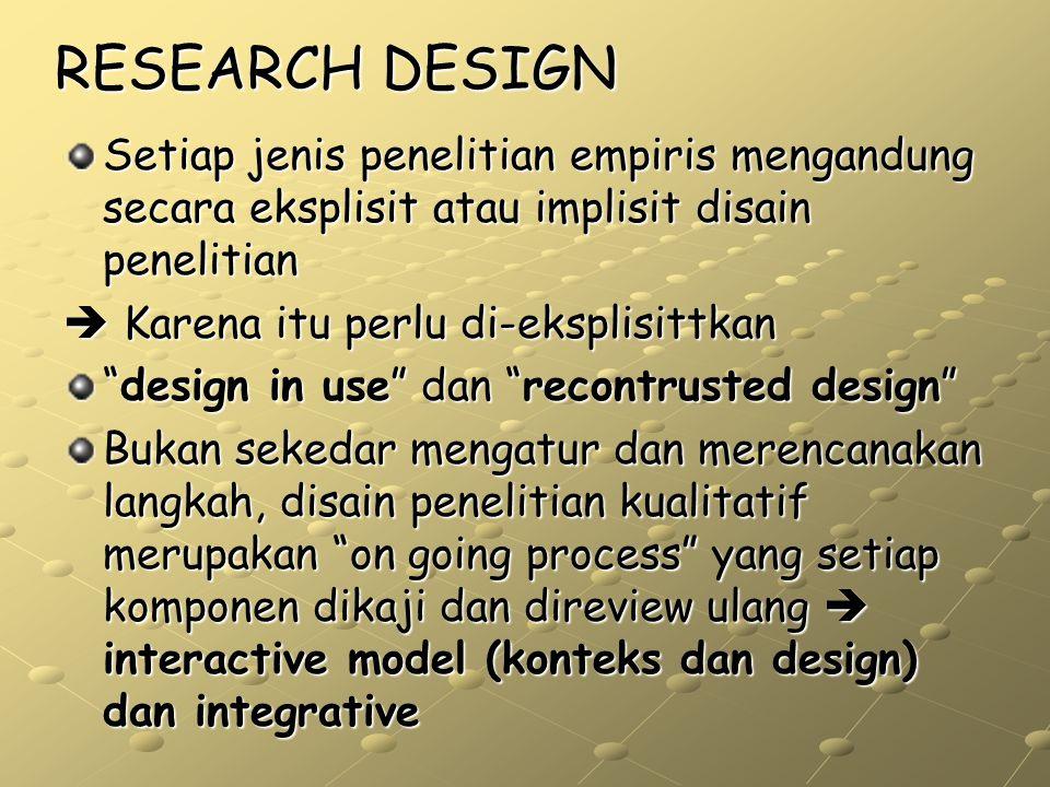 RESEARCH DESIGN Setiap jenis penelitian empiris mengandung secara eksplisit atau implisit disain penelitian.