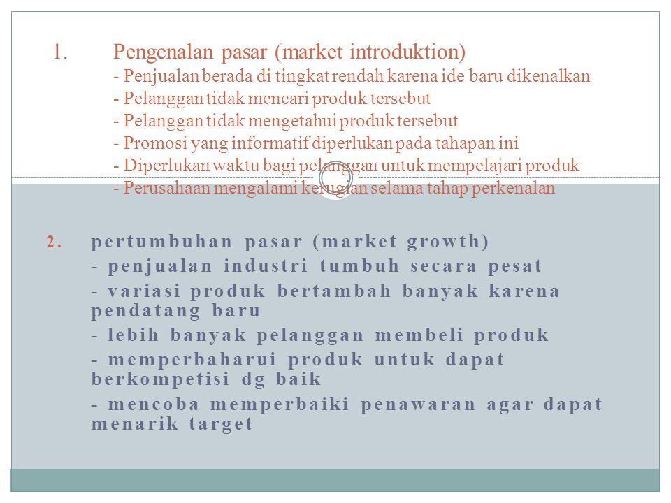 Pengenalan pasar (market introduktion) - Penjualan berada di tingkat rendah karena ide baru dikenalkan - Pelanggan tidak mencari produk tersebut - Pelanggan tidak mengetahui produk tersebut - Promosi yang informatif diperlukan pada tahapan ini - Diperlukan waktu bagi pelanggan untuk mempelajari produk - Perusahaan mengalami kerugian selama tahap perkenalan