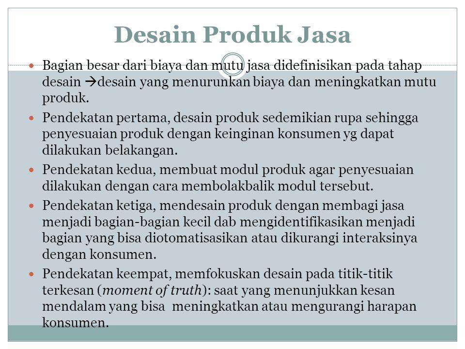 Desain Produk Jasa Bagian besar dari biaya dan mutu jasa didefinisikan pada tahap desain desain yang menurunkan biaya dan meningkatkan mutu produk.