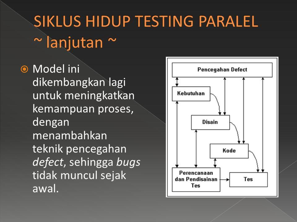 SIKLUS HIDUP TESTING PARALEL ~ lanjutan ~