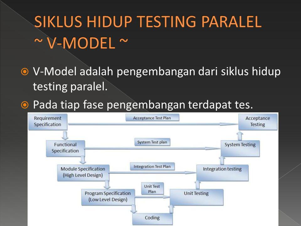 SIKLUS HIDUP TESTING PARALEL ~ V-MODEL ~