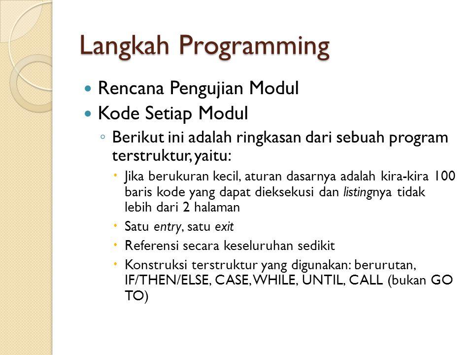 Langkah Programming Rencana Pengujian Modul Kode Setiap Modul