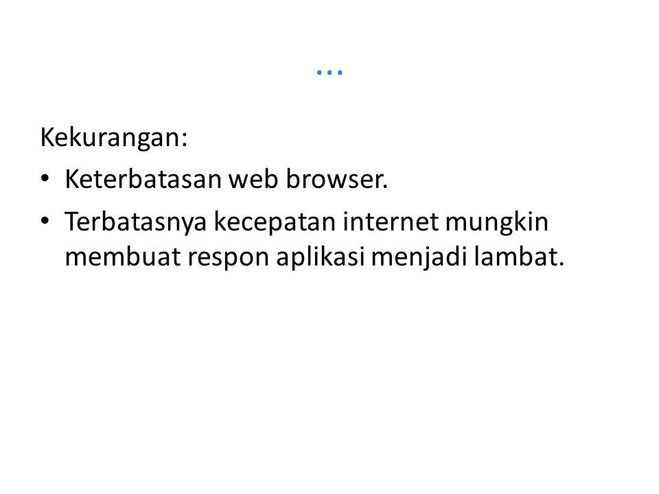... Kekurangan: Keterbatasan web browser.